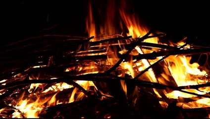 Camp fire at night, outdoor, close-up