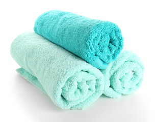 Beautiful towels isolated on white