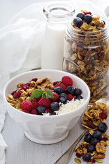 Homemade granola with berries
