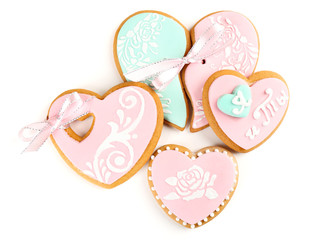 Heart shaped cookies for valentines day isolated on white