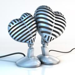 Zwei Kuschelnde Mikrofone, Liebe zur Musik © viz4biz