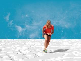 teen girl in sport wear escape frome low poly waste