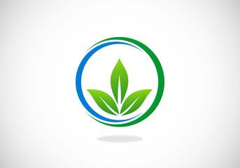 three leaf ecology spa vector logo