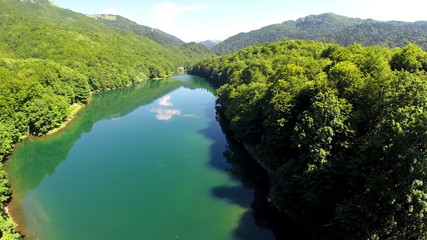 AERIAL: Flight over lake with forest around