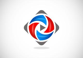 video icon abstract vector logo