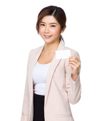 Asian businesswoman holding a blank business card