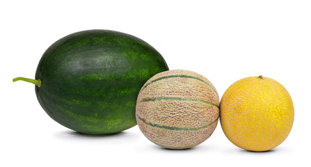 Fresh melons isolated on a white background