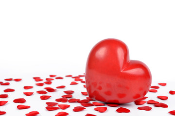 Red heart  on a white background. Valentines day.