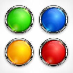 Set of color circle design elements on white, vector