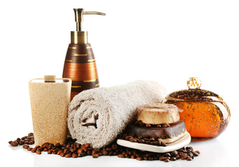 Composition of cosmetic bottle,s soap and towel, isolated