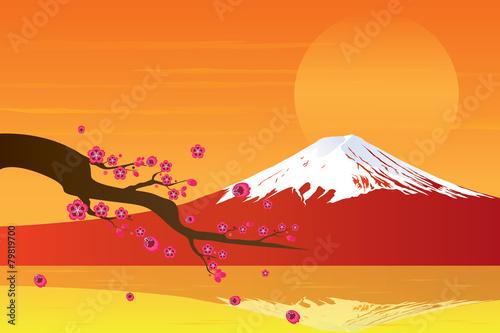 Fototapeta Sunset Fuji Mountain and Cherry Blossom