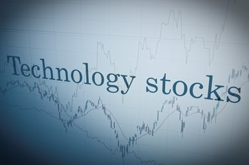"Inscription ""Technology stocks"" on PC screen. Financial concept."