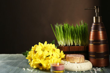 Composition of spa treatment, green grass
