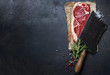 canvas print picture - vintage cleaver and raw beef steak