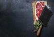 Leinwandbild Motiv vintage cleaver and raw beef steak