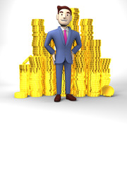 Smile Businessman With Coins On White Text Space