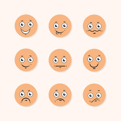 set of funny emoticons. flat smiley icons