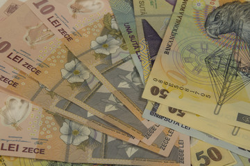 Romanian money background