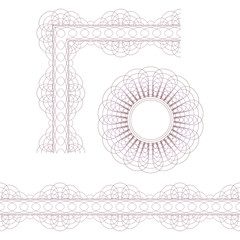 Decorative elements. Rosette, border and corner