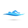Freestyle Swimmer Silhouette with Water Pool Waves. Vector - 79823396