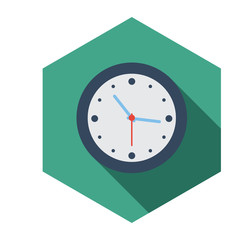 Flat long shadow clock icon