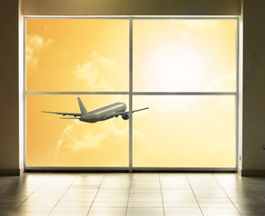Flying away plane