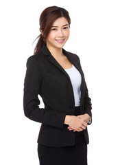 Confident asian businesswoman on a white background
