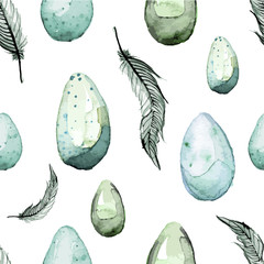 Happy Easter! Watercolor hand drawn Easter egg seamless pattern.