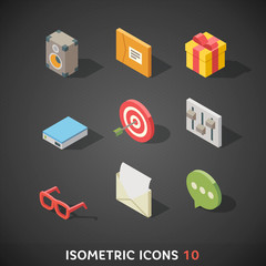 Flat Isometric Icons Set 10