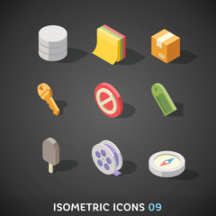 Flat Isometric Icons Set 9