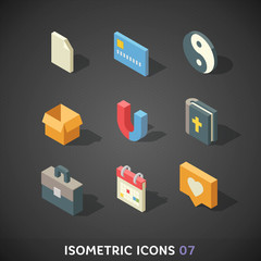 Flat Isometric Icons Set 7