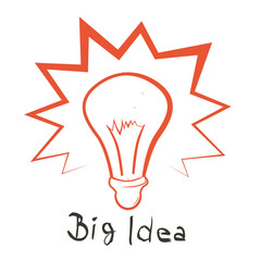 Big Idea Vector Illustration with Bulb Outline