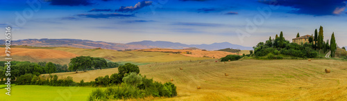 Tuscany landscape - panorama, San Quirico d´Orcia, Italy - 79826516
