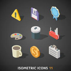 Flat Isometric Icons Set 11