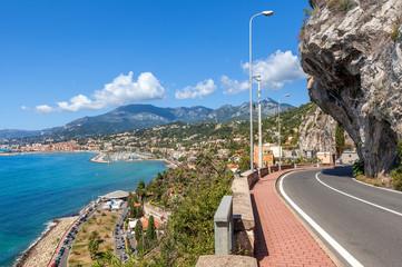 Road along Mediterranean coast in Italy.