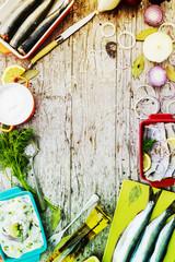Herring - salad with cream -preparation background