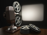 Cinema, movie or video concept. Vintage projector with projectin