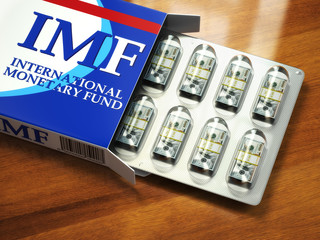 Concept of IMF tranches. Pack of dollars as pills in blister pac