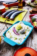 Herring - salad with cream, onion, dill