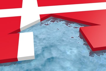 water arrow in plane textured by denmark national flag