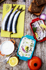 Herring - salad with cream, onion, dill-preparation background
