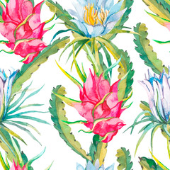 Tropical seamless pattern. Tropical flowers pattern.. Exotic