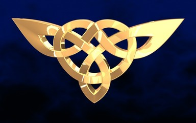 image of golden Celtic pattern on a dark blue background