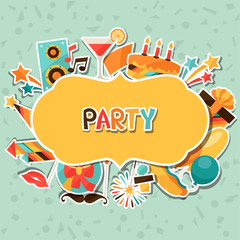Celebration background with party sticker icons and objects.