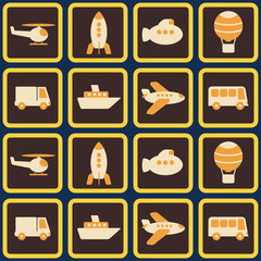 seamless background with various types of transport