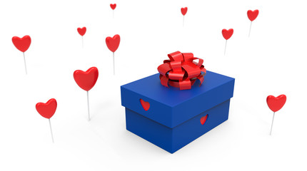 blue gift box with hearts around