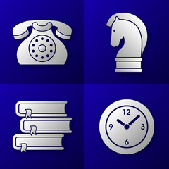 set of business icons - old phone, horse, 3 books, time clock