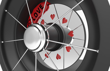 spoked wheel and the brake disc with hearts and brake support