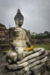 Buddha statue at Wat Phu Khao Thong in Ayutthaya. Thailand.