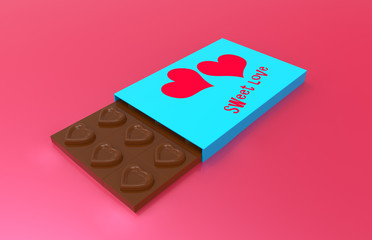 chocolate hearts and a beautiful box with the inscription